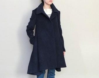 Navy blue wool poncho cape coat