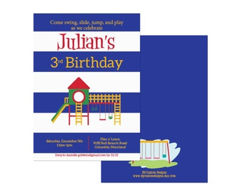 Playground birthday invitation, indoor playground party, boy party, blue stripes, digital file or professional printing available