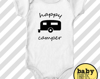 Happy Camper -  Onesie, funny onesie, baby shower gift, cute onesie, baby onesie, romper, custom baby outfit, outdoor onesie, RV camping