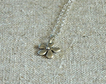 Delicate Silver Flower Necklace on Sterling Silver Chain