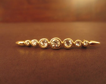 Vintage Monet Pin Monet Bar Pin Monet Rhinestone Lapel Pin Monet Scarf Pin Vintage Monet Hat Pin Monet Brooch Vintage Gold Tone Jewelry