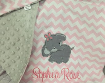 Elephant Baby Blanket | Personalized Elephant Baby Blanket | Gender Neutral Baby Blanket | Elephant Blanket