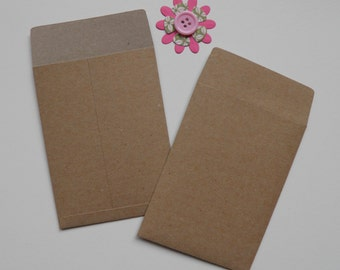 Kraft Coin envelopes, Gift card envelopes, 3 by 4 inches, Paper ephemera, Paper embellishments, Seed envelopes, Money envelopes,