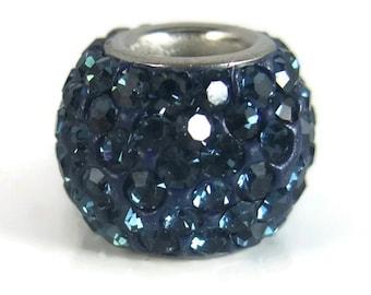 Navy Blue Rhinestone Bead, Blue Charm, Large Hole Bead, European Bead, Charm Bead, Add a Bead, Charm Bracelet, European Charm