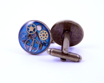 As Seen at GBK's 2015 MTV Movie Awards Gift Lounge Brass Silver or Gold Steampunk Cufflinks with real recycled watch parts Groomsmen Groom