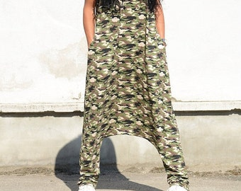 Military jumpsuit, low crotch jumpsuit, military design, boho chic jumpsuit, low crotch pants, print jumpsuit women, military jumpsuit