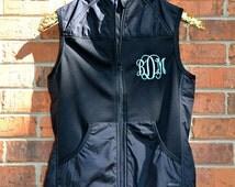 Monogrammed Vest- Lightweight Monogram Vest- Women's Monogrammed Vest- Personalized Vest- Black Vest- White Vest- Pink Vest- Blue Vest