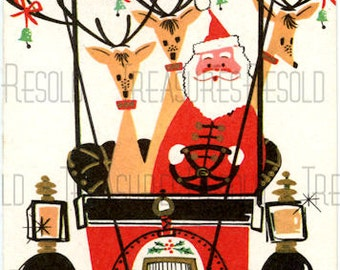 Retro Santa and Reindeer In Old Card With Christmas Tree Christmas Card #456 Digital Download