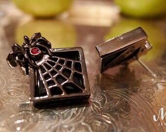 Spiderweb Earrings, The Vamp, Gun Metal Gray & Black Vintage Inspired Earrings, Gothic Jewelry