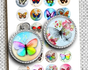 Colorful Butterflies 1 inch 1.5 inch 35mm 30mm 25mm Printable art images for Jewelry making Bottle caps Digital Collage Sheet