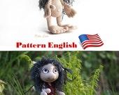 crochet  pattern Hobbit amigurumi For Lord Rings fan, crochet tutorial ENGLISH, e-book Pattern Goblin art doll, plush toy elf, monster troll