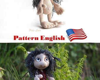Hobbit amigurumi pattern For Lord of the Rings fan, crochet tutorial ENGLISH, e-book Pattern Goblin art doll, plush toy elf, monster troll
