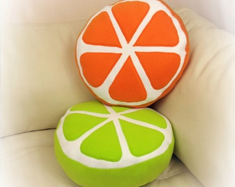 Set of 2 Pillows, Orange and Lime Pillows, Citrus Pillow, Food Pillow, Fruit Pillow, Toy Pillow, 3D Pillow