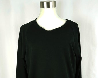 Women's bamboo sweatshirt, ladies long sleeve shirt, black bamboo, gifts for her, ready to ship, s m l XL, 2XL