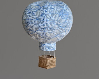 Hot Air Balloon Decoration in Blue Geo - Nursery, Wedding and Baby Shower Decor - Travel and Explore Themed