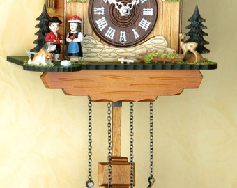 Cuckoo Clock-Germany Black Forest-house and couple-original Schwarzwald-cuckoo clock wood/couples pets