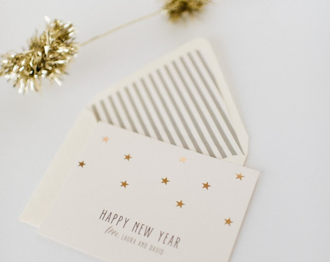 gold foil new years / holiday cards + lined envelopes (set of 10)