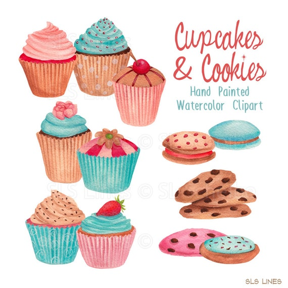 Cake And Art Cupcakes : cupcake watercolor clipart cookies graphic set blue