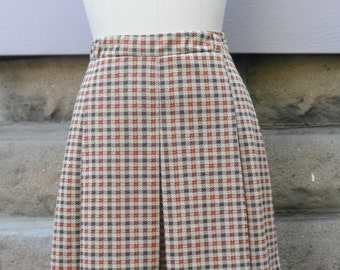 "1960s ""Velma"" Brown and Orange Pleated Plaid Skirt"