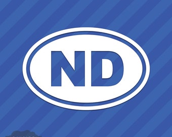 North Dakota ND Oval Vinyl Decal Sticker