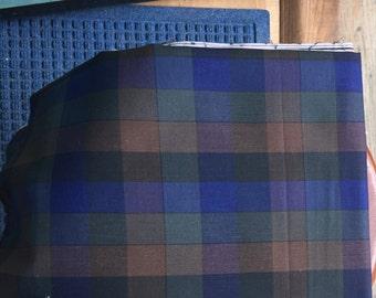 2.7 yds Brown Blue plaid fabric vintage cotton lightweight