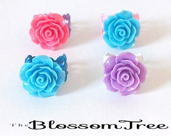 Filigree Rose Ring- Mixed Colours