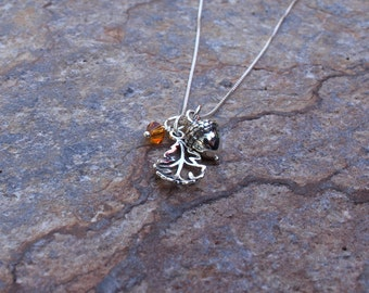 Acorn necklace, Fall jewelry, Nature necklace, Acorn and Oak leaf necklace