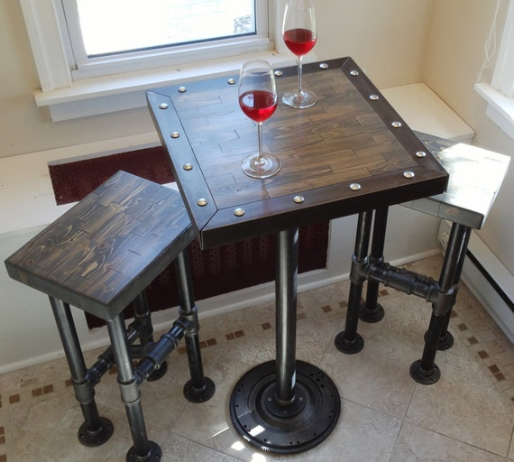 Industrial High Top Table: Industrial Design Weathered Gray Pub / High Top Table And