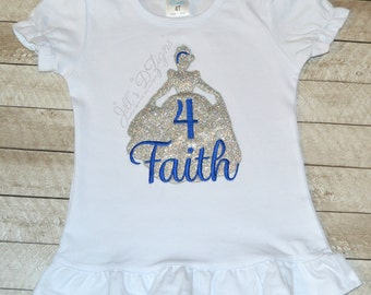 Disney Princess Cinderella Shirt in baby blue glitter with birthday number and name. Any princess available. Simple and sweet. Silhouette