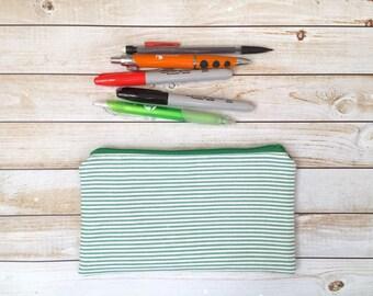 VENTA!!!! Verde rayas lienzo lápiz bolsa pluma bolsa lápiz caso Pen caso accesorio bolsa escuela fuente bolso pequeño maquillaje