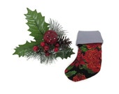 Mini Christmas Stocking -Treat Bag - Card Holder - Tree Table Decor - 130mm x 95mm - Red Green with Silver Lining #makeforgood