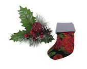 Mini Christmas Stocking - Treat Bag - Kartenhalter - Baum Tabelle Decor - 130 x 95 mm - rot grün mit silbernem Futter #makeforgood