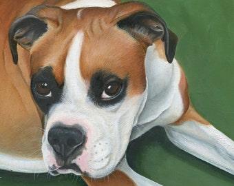 Custom Pet Portrait , Dog Oil Painting , Dog Art, Boxer Portrait