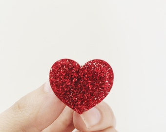 Pine's red heart glitter, pin's to offer for wedding, pin's anniversary, pin's glitter red plexiglass, red pin's