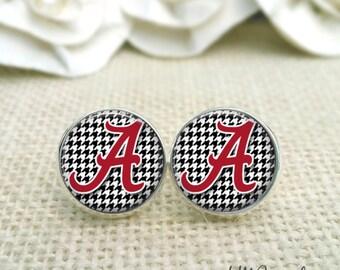 University of Alabama Earrings, Crimson Tide Earrings, Alabama Jewelry, Roll Tide Earrings