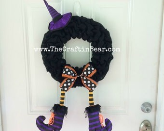 Witch burlap wreath - Witch wreath - Witch decor - Halloween wreath - Halloween decor - Witch party decor - Halloween party decor