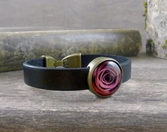 Red rose bracelet, Black leather bracelet, Red rose jewelry, Flower bracelet, Red flower cuff, Leather wristband, Picture bracelet (NJ 021)