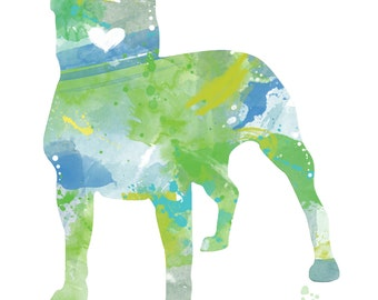 American Pit Bull Terrier Silhouette - 8x10 Watercolor Print Artwork of Colorful Staffordshire Terrier for Pet Lovers, Dog Lover Gift, Decor