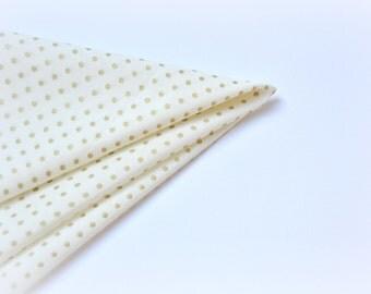 Gold Polka Dots Pocket Square. Polka Dot Handkerchief. Ivory Gold Kerchief