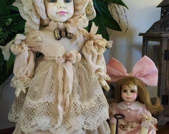 Hand Painted Vintage Altered Bisqe Dolls Kora and Kit 3 Piece Set! Stunning!