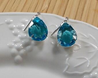 Sheer Aqua Blue Teardrop Earrings  1522