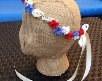 America flower crown. USA headband hair accessory. Fourth of July floral crown. 4th of july 4th American floral headband Red white and blue