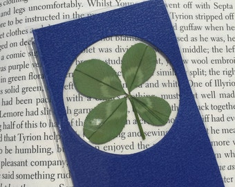Real Four Leaf Clover Bookmark in Blue