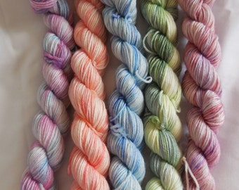 Variegated Mini Set Hand Dyed Superwash Merino Sock Yarn