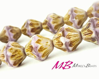 Lilac Bicone Beads, 13mm Czech Glass Beads