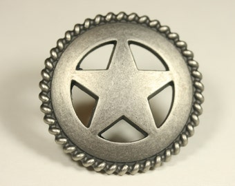 Western Style Star Rope Knob - Antique Silver