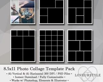 8.5x11 Photo Template Pack, Photo Collage, Portfolio Design, Scrapbook Templates, Photography Templates, Digital Design, Photoshop, Elements