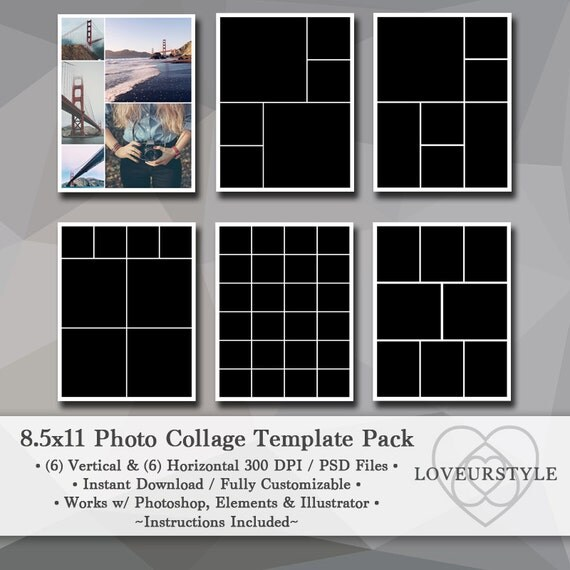 8 5x11 photo template pack photo collage portfolio design