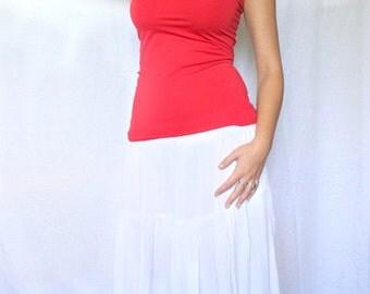 White Skirt, Women's Long Tiered Skirt, White Peasant Skirt, White Boho Skirt
