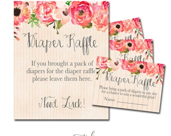 Flowers Diaper Raffle Ticket, Floral Diaper Raffle Ticket, Diaper Raffle Flowers Instant Download